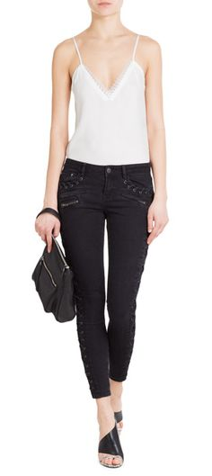 The lace-up trim on these The Kooples skinny jeans is a tough addition to a perennial favorite #Stylebop