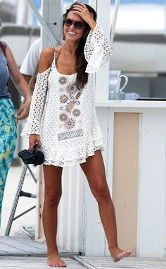 Audrina Patridge Beachwear. White bathing suit coverup.