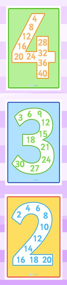 Twinkl Resources Number Multiples Individual Display Posters Classroom printables for Pre-School, Kindergarten, Elementary School and beyond! Maths Display, Classroom Displays, Math Classroom, Kindergarten Math, Math Resources, Math Activities, Math Multiplication, Math Intervention, Math Numbers