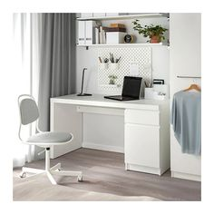 MALM Desk, white, 55 A clean design that's just as beautiful on all sides – place it free-standing in the room or against a wall with cables neatly hidden inside. Use with other MALM products in the series for a unified look. Home Office Design, Home Office Decor, Home Decor, White Desk Home Office, Office Ideas, Ikea Office, Small Office, White Desk Bedroom, White Desk Decor