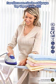 Σύστημα σιδερώματος ρούχων - Σιδερόπρεσσα Top Vapor Turbo S. Η τελειότητα του επαγγελματικού σιδερώματος είναι πραγματοποιήσιμη πλέον και για οικιακή χρήση. International Health, Health Organizations, Turbo S, Home Appliances, Iron, Tops, House Appliances, Shell Tops, Appliances