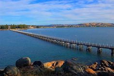 Victor Harbor, South Australia, 90 minutes' drive south of Adelaide. The bridge to Granite Island Adelaide South Australia, Australia Day, Australia Living, Australia Travel, Living In Adelaide, Beach Trip, Beach Travel, Great Hotel, Florida Travel