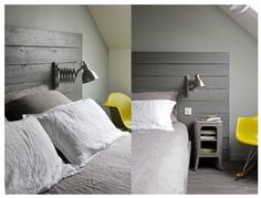 pallet headboard. maybe painted a lighter grey would be pretty, with a cute yellow cushion on the bed to bring through more of the yellow