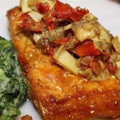 Mahi Mahi with Artichokes and Sun-Dried Tomatoes - Allrecipes.com This one is good,  made it last night.