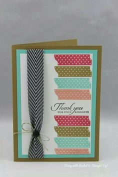 Stampin up tape it stamp set. In colors.