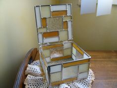 Stained Glass Jewelry Box Ring Box Critine Color by KimberlyHahn, $198.00