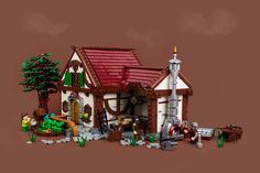 Rorek's Workshop by Markus Rollbühler #LEGO #MOC #building #tree #roof #craftsman #blacksmith #smithy #forge #cart #legoclever