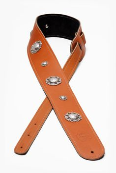2.5 7 Concho Boot Leather Guitar Strap by LoreLeatherProducts