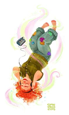 Eleanor and her walkman, from Eleanor and Park by Rainbow Rowell. I love this book. So much. by Simini Blocker