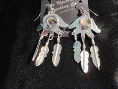Dangling Silver Plated Abalone Earrings #UpstreamTradingCompany #DropDangle