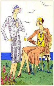 "French vintage haute couture fashion by Martial et Armand. Art deco costume ideas, Les créations parisiennes, ""Sucre de Pommes"" Model of :Galvaudeuse"""
