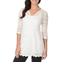Chelsea & Theodore Women's White Scallop-hem Knit Tunic - Overstock™ Shopping - The Best Prices on Chelsea & Theodore 3/4 Sleeve Shirts