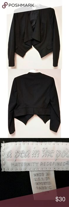 Black Front Drape Blazer by A Pea in a Pod Sleeves are 25in length. 18in bust. 22in length blazer. Size medium. Maternity blazer. Questions are welcomed. A Pea in the Pod Jackets & Coats Blazers