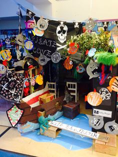 pirate cove is a little hidden writing area with a pirate ship and plenty of pirate costumes. Pirate Activities, Eyfs Activities, Activities For Kids, Preschool Ideas, Sea Pirates, Pirates Cove, Pirate Day, Pirate Theme, Pirate Birthday