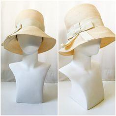Vintage 1960s Ivory / Cream Delmore Straw Bucket Hat