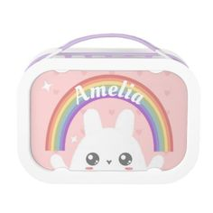 Shop Cute Kawaii Bunny and Rainbow Personalised Lunch Box created by DipsyLou. Lunch Table, Lunch Boxes, Kawaii Bunny, Fluffy Bunny, Kawaii Clothes, White Elephant Gifts, Cute Pink, Holiday Cards, Gifts For Kids