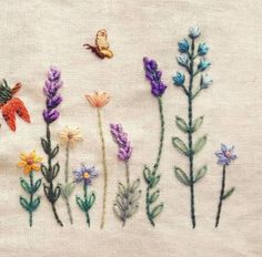Wildflower border embroidery with butterflies Border Embroidery, Hand Work Embroidery, Creative Embroidery, Simple Embroidery, Hand Embroidery Stitches, Silk Ribbon Embroidery, Vintage Embroidery, Embroidery Art, Embroidery Designs