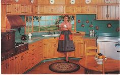 This Wood-Mode custom designed kitchen is Colonial styled in knotty pine. Knotty Pine Kitchen, Knotty Pine Doors, 1950s Decor, Vintage Decor, Vintage Ads, Pantone, Wood Mode, Vintage Kitchen, 1950s Kitchen