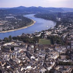 The Rhine River by Bonn Germany.  Many castles along the Rhine River.