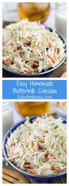 Quick and easy homemade buttermilk coleslaw is the perfect side dish for all your summer BBQs.
