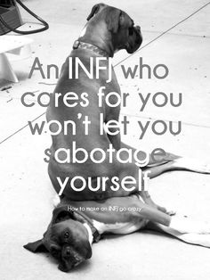 """An INFJ who CARES for you WON""""T let YOU SABOTAGE yourself.            I TRIED!!!"""