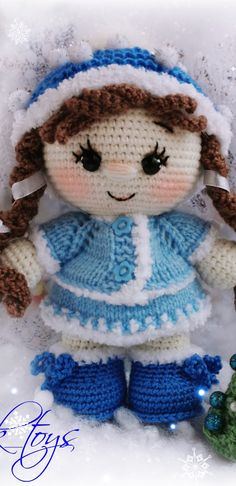 PDF Пупс малышка в костюме Снегурочки крючком. FREE crochet pattern; Аmigurumi doll patterns. Амигуруми схемы и описания на русском. Вязаные игрушки и поделки своими руками #amimore - снегурочка, Новый год, кукла, пупс, doll puppet, muñeca boneca, poupée, puppe, panenka, bebek, lalka. Amigurumi doll pattern free; amigurumi patterns; amigurumi crochet; amigurumi crochet patterns; amigurumi patterns free; amigurumi today. #амигуруми #amigurumi #amigurumidoll #amigurumipattern… Amigurumi Doll Pattern, Crochet Doll Pattern, Crochet Toys Patterns, Craft Patterns, Stuffed Toys Patterns, Free Crochet, Crochet Hats, Crochet Animals, Yarn Crafts