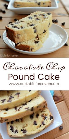 Chocolate Chip Pound Cake from Table for Seven. Make Keto pound cake and use sugar free chocolate chips Brownie Desserts, Oreo Dessert, Mini Desserts, Just Desserts, Delicious Desserts, Dessert Recipes, Yummy Food, Desserts Caramel, Appetizer Dessert