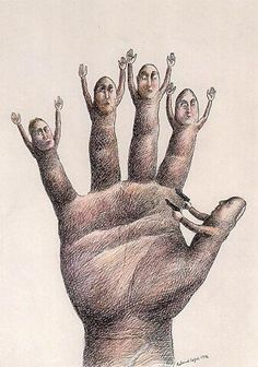 Roland Topor (January 7, 1938 – April 16, 1997), was a French illustrator, painter, writer, filmmaker and actor, known for the surreal nature of his work. He was of Polish Jewish origin and spent the early years of his life in Savoy where his family hid him from the Nazi peril. (wikipedia)
