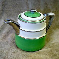 Art Deco Fraunfelter Teapot Coffee Pot Vintage 1920s 1930s Jadite Green Silver Zanesville Ohio