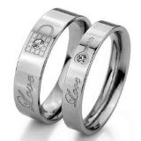 JBlue Men's Stainless Steel Bands Engagement Ring Lovers Couples Valentine's Love Lock Promise image