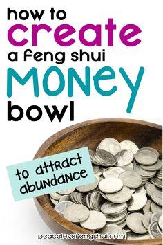 feng shui tips for wealth: creating a feng shui money bowl to attract abundance! Feng Shui Tips For Wealth, Feng Shui And Money, Feng Shui Guide, Feng Shui Basics, How To Feng Shui Your Home, Feng Shui House, Feng Shui Bedroom, House Number Feng Shui, Living Room Feng Shui
