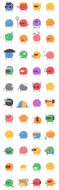 KeWe Stickers by Thomas Fitzpatrick, via Behance Game Character Design, Character Design Inspiration, Game Design, Icon Design, 2d Character, Flat Illustration, Character Illustration, Emoji Design, Cartoon Design
