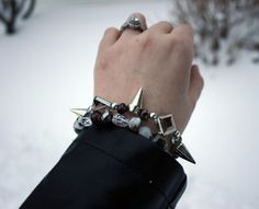 Silver Spike and Metallic Bracelet Set