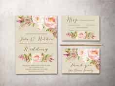 Rustic Floral Wedding Invitation Printable Boho by tranquillina