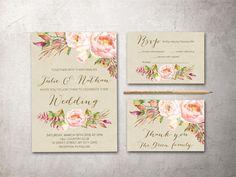 Rustic Floral Wedding Invitation Printable Boho by tranquillina