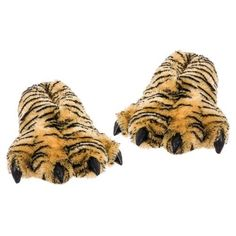 f4be19eeebf7 Wishpets Adult Large Size Unisex Brown Tiger Animal Paw Plush Fuzzy Slippers