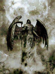 The reaper is an angel. Ange Demon, Demon Art, Dark Fantasy Art, Dark Art, Grim Reaper Art, Reaper Tattoo, Archangel Michael, Angels And Demons, Angel Art