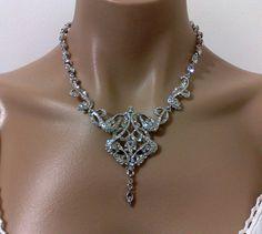 Art Deco Wedding Necklace, Swarovski Crystal Silver Victorian Edwardian Jewelry, Bridal Accessories, CARMEN. $79.00, via Etsy.