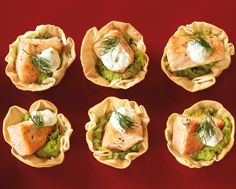 Baked Salmon in Phyllo Cups with Garlic Pea Purée & Dilled Cream Salmon Recipes, Seafood Recipes, Food Tips, Food Hacks, Phyllo Cups, Recipes Appetizers And Snacks, Small Meals, Baked Salmon, Fish And Seafood