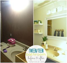 Tween/Tween Bathroom Redo – 5 Ways to Create a Space YOUR Teen Will Love! (Tatertots and Jello) Bathroom Remodel Cost, Bathroom Renovations, House Renovations, Basement Bathroom, Small Bathroom, Bathroom Ideas, Bathroom Grey, Washroom, Bath Ideas