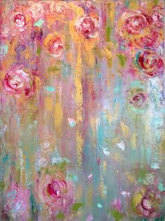 Oil on Canvas, floral, flowers, roses, chinoiserie, painting, fine art amyabig.com
