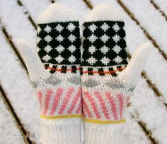 Unusually patterned, wonderfully soft and well fitting mittens made from 100% wool. Hand knit by top artisans in Iceland.    While designing the