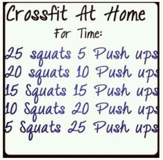 Crossfit @ home. An under 5 minute wod for when you need a good sweat...