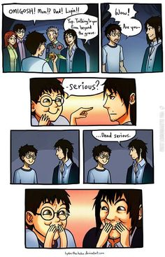 The moment Sirius Black realised Harry was his godchild truly. Harry Potter Comics, Harry Potter Puns, Harry Potter Universal, Funny Harry Potter Pics, Fanart Harry Potter, Harry Potter Ships, Hogwarts, Desenhos Harry Potter, Yer A Wizard Harry
