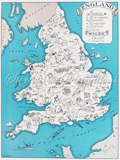 England - Vintage Map of England and Wales - A Fun and Funky 1930s Vintage Picture Map to Frame. $24.00, via Etsy.