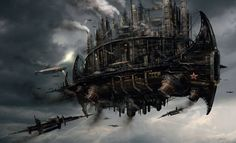 Dieselpunk flying ship, illustration by Didier Graffet