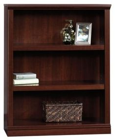 Two adjustable shelves. Quick and easy assembly with patented slide-on moldings. Size: x x 3 Shelf Bookcase - Select Cherry - Sauder 3 Shelf Bookcase, Metal Bookcase, Bookshelves, Ladder Shelves, Furniture Styles, Home Furniture, Furniture Design, Vertical Bookshelf, Cherry Bookcase