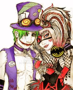 Joker and Harley cyber goth rave outfits (WIP) by MMxVampire