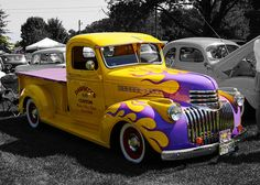 Yellow and Lavender Pickup Truck