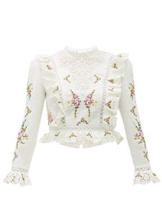 Great for Zimmermann Allia floral cross-stitch linen-blend top Womens Clothing from top store Kpop Fashion Outfits, Girly Outfits, Womens Fashion, Myanmar Traditional Dress, Traditional Dresses, Kpop Mode, Myanmar Dress Design, Fancy Blouse Designs, Looks Chic